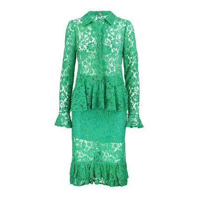 Lang & Lu - peplum lace shirt & lace frill skirt green